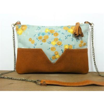 Sac - pochette en cuir camel et tissu à fleurs jaunes made in france - Menthe Poivrée