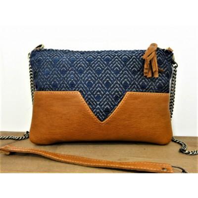 Sac de créateur en cuir camel et tissu jacquard bleu marine made in france