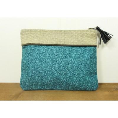 Pochette en coton bleu vert à motif feuilles