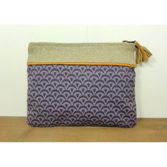 Pochette en coton seigaiha violette et en lin