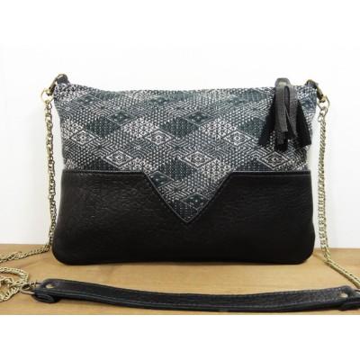 Sac ou pochette en cuir et tissu jacquard noir gris et argenté made in france