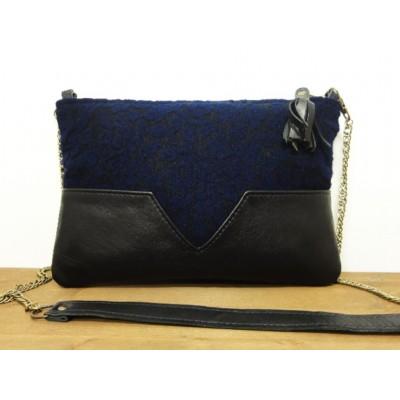 Sac en cuir et tissu jacquard bleu marine et noir fabrication française fait main