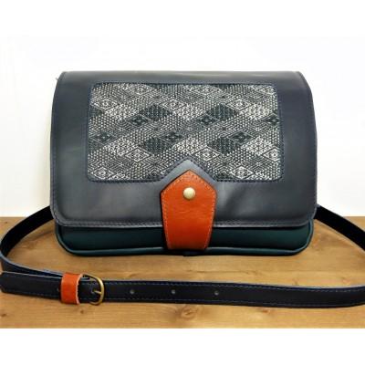 Sac en cuir et tissu de créateur fabriqué en france - Argent et bleu canard