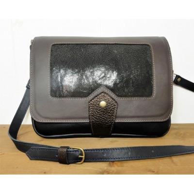 Sac de créateur en cuir made in france- Taupe et Argent et noir