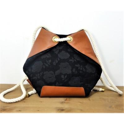 sac à dos matelot en cuir et tissu noir et maaron made in france- Menthe Poivrée