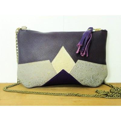 Sac / Pochette de créateur en cuir violet parme mauve argenté - Made in france