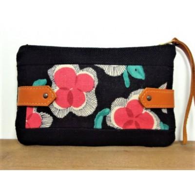 Pochette en tissu en lin à Fleurs Roses et noir et cuir camel made in france Menthe Poivrée