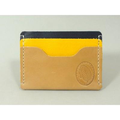 Porte-cartes  en cuirs naturel, jaune et bleu marine made in France Menthe Poivrée