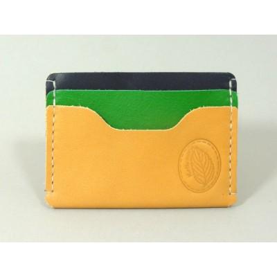 Porte-cartes  en cuir naturel, jaune et marine made in france menthe poivrée