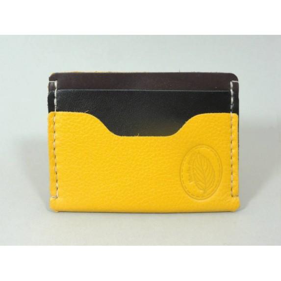 Porte-cartes  en cuir jaune, noir et brun made in france menthe poivrée