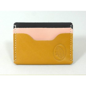 Porte-cartes  en cuir jaune moutarde, noir et rose