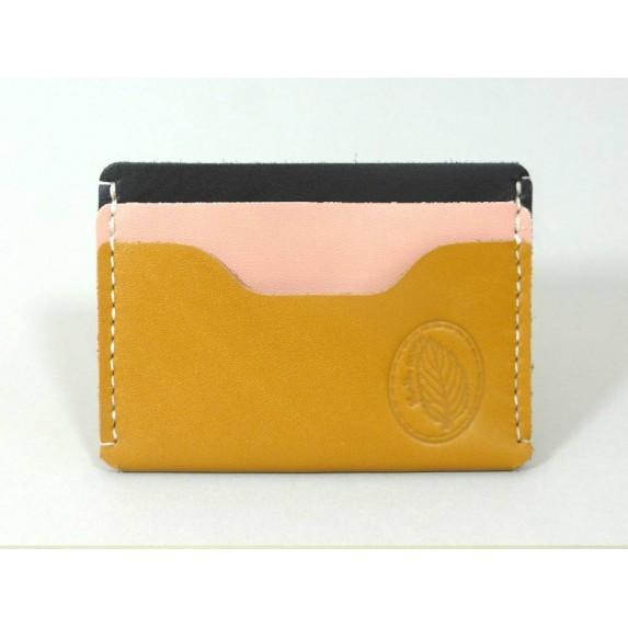 Porte-cartes  en cuir jaune moutarde, noir et rose made in france Menthe Poivrée