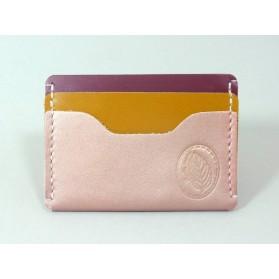 Porte-cartes  en cuir rose irisé, jaune moutarde et framboise
