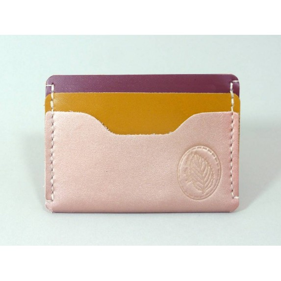 Porte-cartes  en cuir rose irisé, jaune moutarde et framboise paillettes made in france Menthe Poivrée