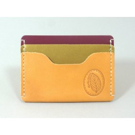 Porte-cartes  en cuir naturel, vert irisé et framboise