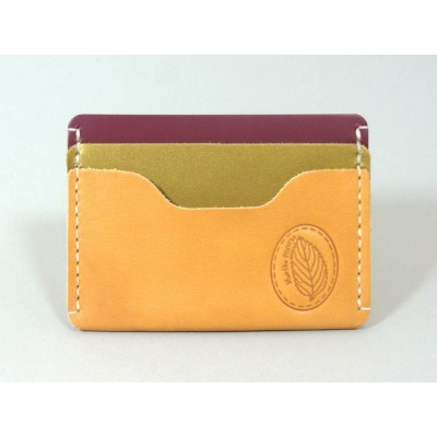 Porte-cartes  en cuir naturel, vert irisé et framboise made in france Menthe Poivrée