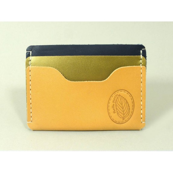 Porte-cartes  en cuir naturel, vert irisé et bleu marine made in france