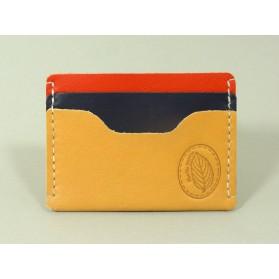 Porte-cartes  en cuir naturel, rouge et bleu marine
