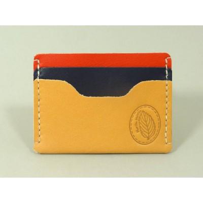 Porte-cartes  en cuir naturel, rouge et bleu marine made in france menthe poivrée