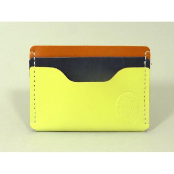 Porte-cartes  en cuir jaune acidulé, marron et bleu marine