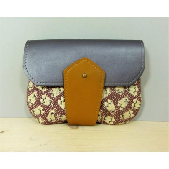 Porte monnaie en cuir et tissu Parme et Moutarde made in france menthe poivrée