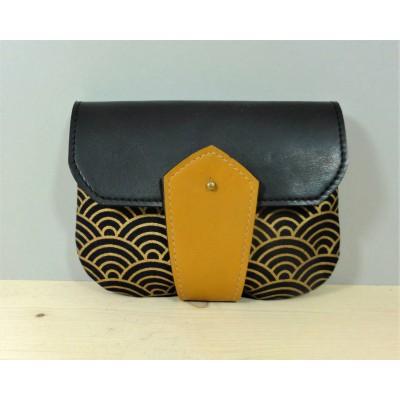 Porte monnaie en cuir et tissu japonais Seigaiha noir et or made in france Menthe Poivrée