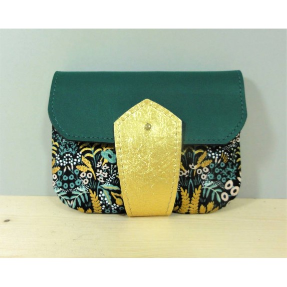 Porte monnaie  en cuir et tissu jungle vert émeraude et or made in france Menthe Poivrée