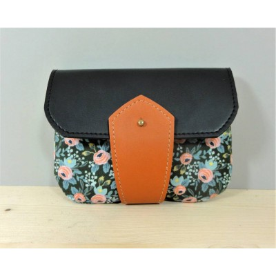 Porte monnaie Floral en cuir et tissu made in France Menthe Poivrée
