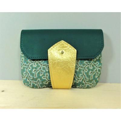 Porte monnaie Céladon en cuir et tissu vert émeraude et or made in France Menthe Poivrée