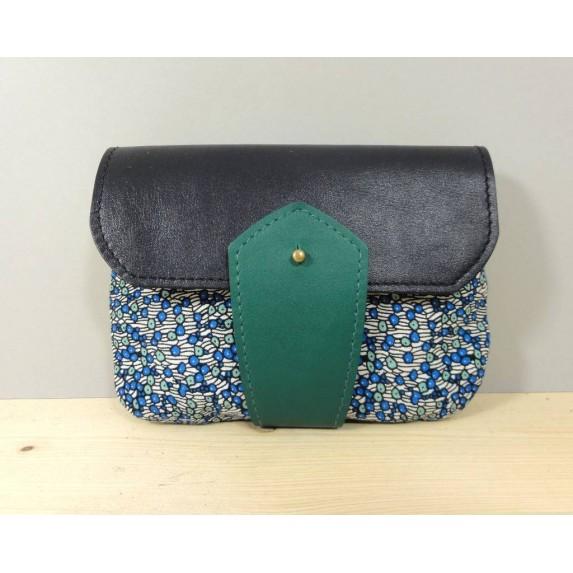 Porte monnaie  en cuir et tissu Vert et Bleu made in France Menthe Poivrée