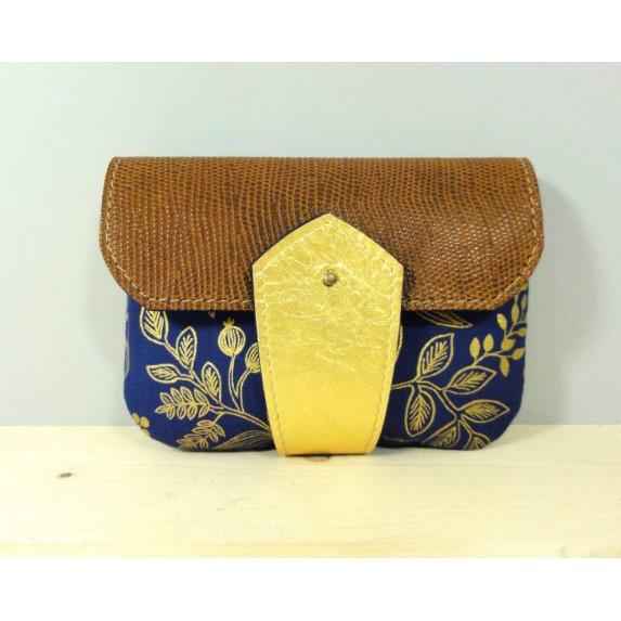 Porte monnaie  en cuir et tissu Bleu et or et camel made in france