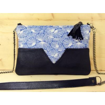 Sac en cuir noir et tissu jacquard bleu et balnc éventails made in france menthe poivrée