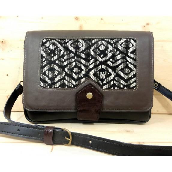 Sac besace sacoche en cuir noir et tissu guvenchy noir et blanc made in france Menthe Poivrée