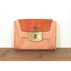 Portefeuille en cuir - Rose Orange et Or