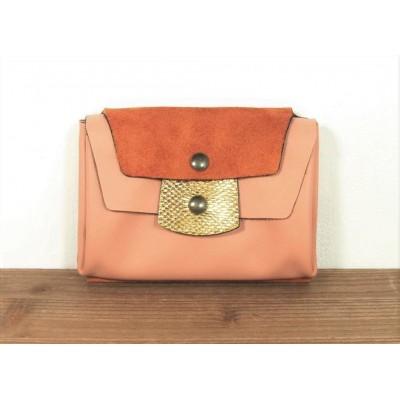 Portefeuille en cuirs Rose Orange et Or fabriqué en france artisanallement