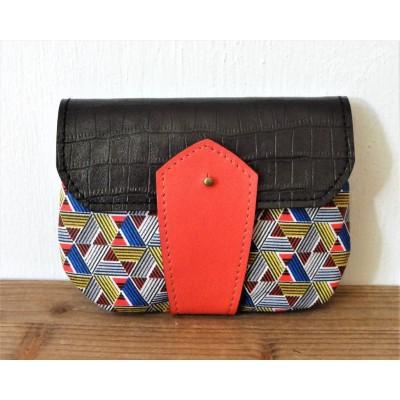 Porte monnaie en cuir et tissu wax.made in france menthe poivrée
