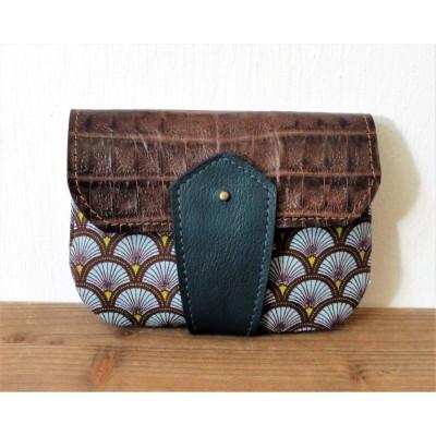 Porte monnaie en cuir et tissu Seigaiha croco marron et bleu canard made in france Menthe Poivrée