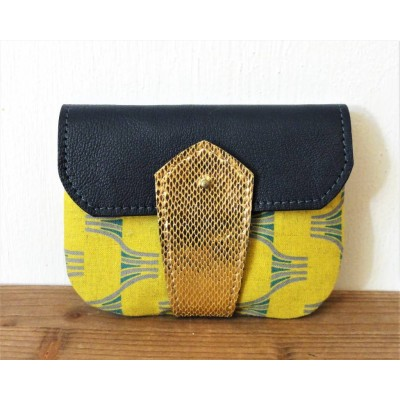 Porte monnaie  en cuir et tissu Jaune et bleu et or made in france menthe poivrée