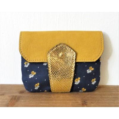 Porte monnaie en cuir et tissu bleu et moutarde et or fabriqué en normandie menthe poivrée