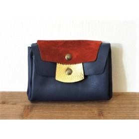 Portefeuille en cuir - bleu rouge et or
