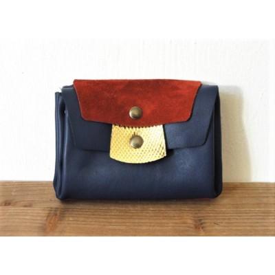 Portefeuille en cuir bleu rouge et or fabriqué en france menthe poivrée