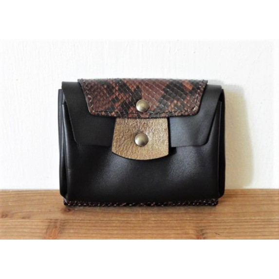Portefeuille en cuir noir bronze et python made in france Menthe Poivrée