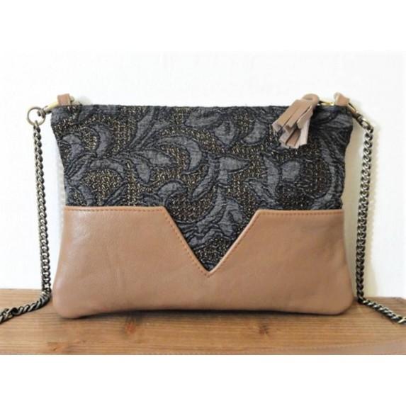 Sac en cuir beige et tissu jacquard à motifs floraux bleu marine et bronze fabriqué en normandie