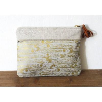 Pochette en lin et coton à motifs sardines fabriquée en france Menthe Poivrée