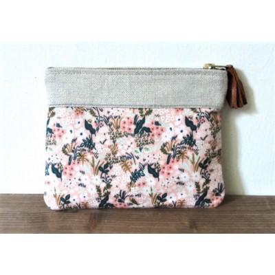 Pochette Jardin rose en lin et coton imprimé fabriqué en france