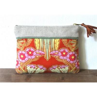 Pochette trousse en lin et coton motifs art nouveau made in france
