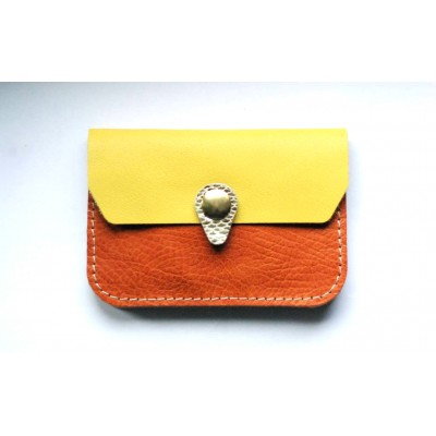 Porte monnaie en cuir Camel jaune et argent Menthe Poivrée fabriqué en France