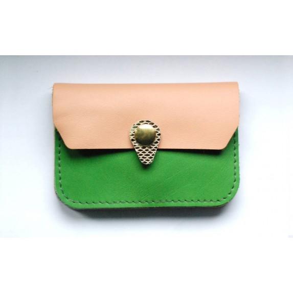 Porte monnaie en cuir Vert rose et argent Menthe poivrée made in france
