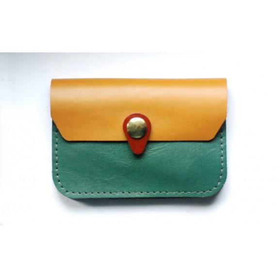 Porte monnaie en cuir vert émeraude ocre cognac fabriqué artisanalement en France