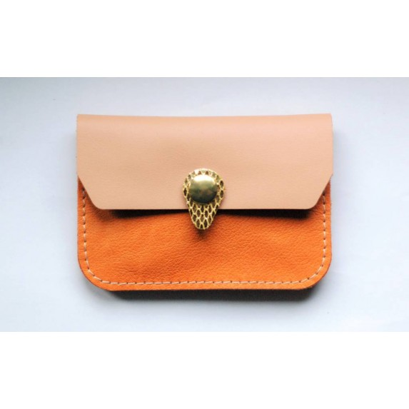 Porte monnaie en cuir Orange rose gold made in France Menthe Poivrée
